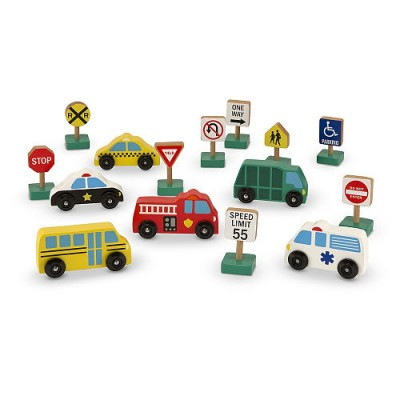 MELISSA & DOUG Wooden Vehicles & Traffic Sign