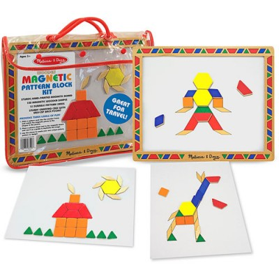 MELISSA & DOUG Deluxe Wooden Magnetic Pattern Blocks