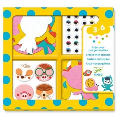 DJECO I Love Animals Create With Stickers