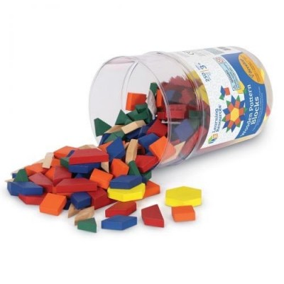 LEARNING RESOURCES Wooden Pattern Blocks, 1 cm (Set of 250)