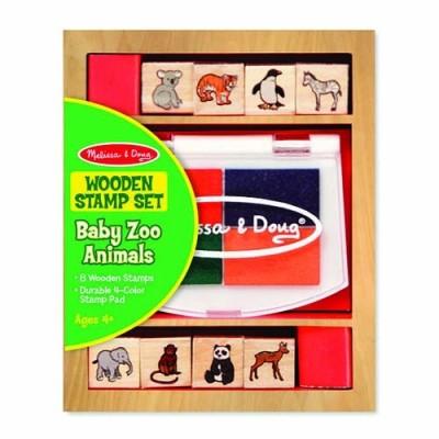 MELISSA & DOUG Wooden Stamp Set - Baby Zoo Animals