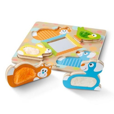 MELISSA & DOUG First Play Wooden Touch and Feel Puzzle Peek-a-Boo Pets With Mirror