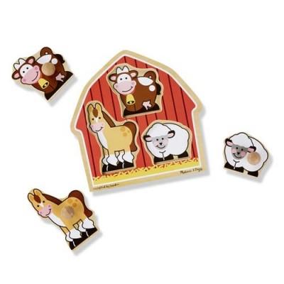 MELISSA & DOUG Barnyard Animals Jumbo Knob Puzzle - 3 Pieces