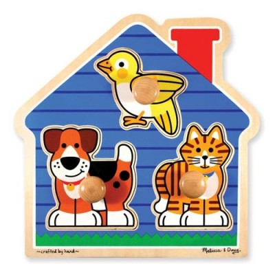 MELISSA & DOUG House Pets Jumbo Knob Puzzle - 3 Pieces