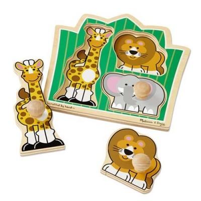 MELISSA & DOUG  Jungle Friends Jumbo Knob Puzzle - 3 Pieces