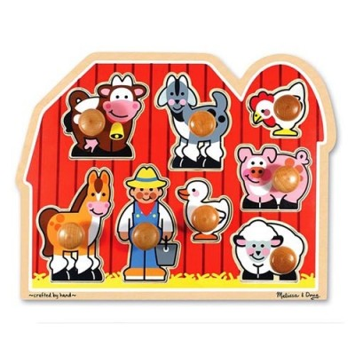 MELISSA & DOUG Large Farm Jumbo Knob Puzzle - 8 pieces
