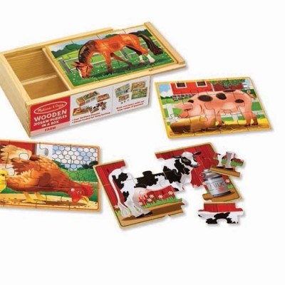 MELISSA & DOUG Farm Animals Puzzles in a Box