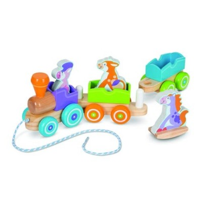 MELISSA & DOUG First Play Wooden Rocking Farm Animals Pull Train