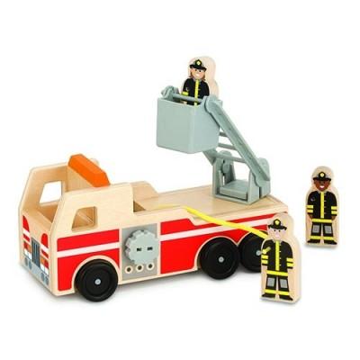 MELISSA & DOUG Classic Wooden Fire Truck Play Set