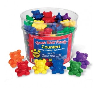 LEARNING RESOURCES Three Bear Family Basic Six Color Rainbow Counter Set (Set of 96)