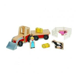 MELISSA & DOUG Classic Wooden Farm Tractor Play Set