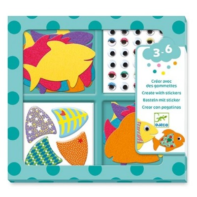 DJECO I Love Fish Create With Stickers