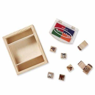 MELISSA & DOUG Wooden Stamp Set - Baby Farm Animals