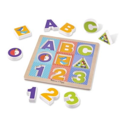MELISSA & DOUG First Play Wooden ABC-123 Chunky Puzzle