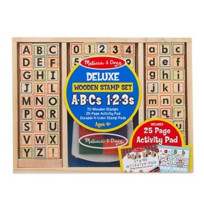 MELISSA & DOUG Deluxe Wooden Stamp Set - ABCs 123s