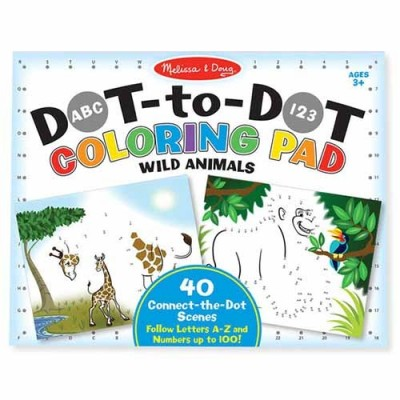 MELISSA & DOUG Wild Animals ABC 123 Dot-to-Dot Colouring Pad